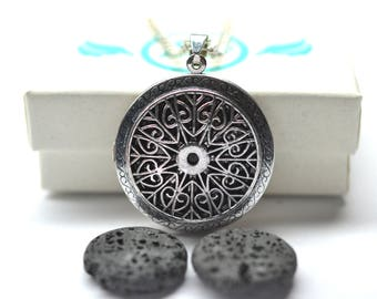 Victorian Lava Stone Locket Diffuser Necklace - With Choice of Essential Oil