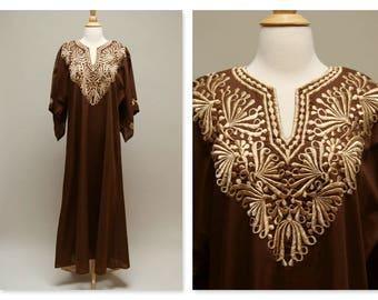 1970s Kaftan ⎮ Vintage Brown Caftan ⎮ Gold Embroidered Caftan ⎮ Cotton Maxi Lounge Dress