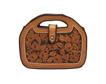 Vintage 70's Tooled Leather Bag ⎮  1970s Leather Floral Etched Top Handle Tote⎮ Vintage Detailed Boho Handbag