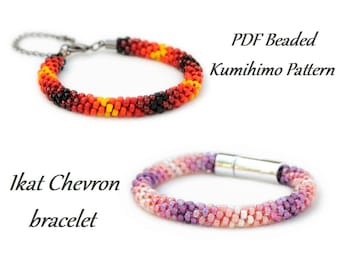 PDF Beaded Kumihimo Pattern - Ikat Chevron Kumihimo bracelet – bead layout instruction