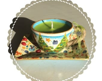 Handmade Christmas cup and saucer with candle in it!