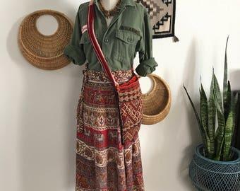1960s - Vintage Indian Cotton Wrap Skirt - Bohemian - Vintage boho - Vintage Skirts - Earth mama - bohohippie