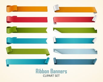 Ribbons clipart. Ribbon banners clip art collection. Vector graphic.