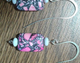 Pink and gray stone earrings