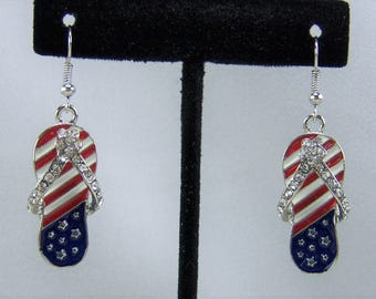 E218 - Patriotic Flip Flop Earrings