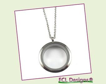 30mm Plain Silver Large Round Floating Charm Locket Necklace