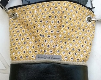 women Veronpiotcreation shoulder bag shoulder bag small city bag in faux black leather and Japanese pattern on yellow cotton