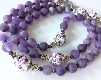 Matte Amethyst Rosary, Purple Gemstone Rosary, Woman's Rosary, Feminine Rosary, Catholic 5 Decade Rosary, Personalized Rosary