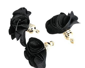5 pendants PomPoms Decoration flowers black gold tassels