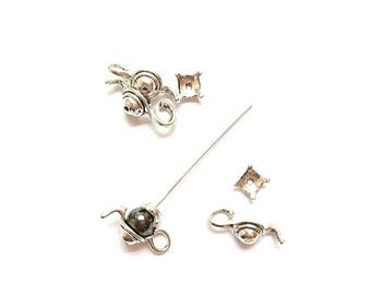 10 kits Cup teapot (suitable for bead 10mm) antique silver bead