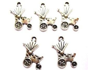 10 pendants 19 mm x 14 mm antiqued silver carrier