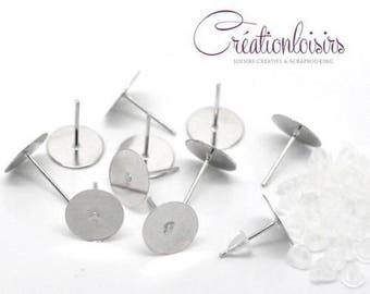 Supports 30 Stud Earrings for polymer clay with silver color end caps 12 x 10 mm