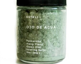 Ojo de Aqua Soaking Salts - Palmarosa, Ylang Ylang + Green Clay