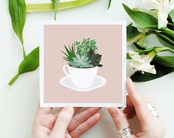 Succulents in a Teacup House Plant Planter Green Illustration 5x5 Square Mini Print Wall Art