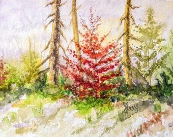 Original watercolor walking in the autumn road