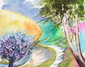 Original watercolor Flowers and sheets