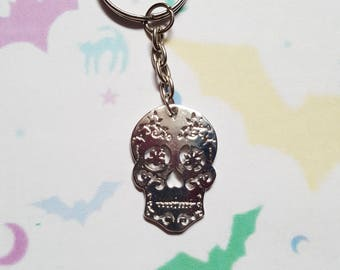 Sugar skull keyring, Skull keyring, Halloween keyring, Halloween bag charm, Skeleton, Skull, Hallowen, Horror, Goth, Gothic, Alternative