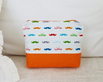 mustache pouch- orange pouch, travel pouch, cosmetic pouch