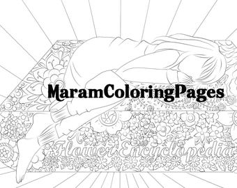 digital adult and children coloring page, instant download, printable