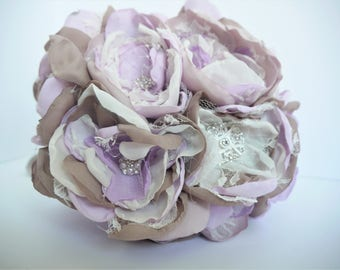 Lavender Fabric Flower Bouquet, Brooch Bouquet, Fabric Flower, Bridal Bouquet, Purple, Lavender, Shabby Chic Bouquet, Vintage Bouquet