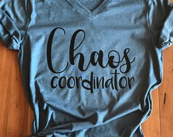 Chaos coordinator, teacher life, mom life funny shirt, popular shirt with saying, super soft relaxed fit graphic tshirt