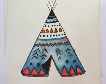 Original Teepee water colour painting (not print)  perfect for the nursery or childrens bedroom