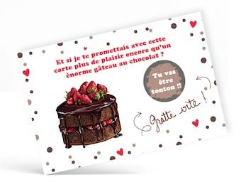 Carte à gratter avec message personnalisable: grossesse, mariage, baptême, anniversaire - Gateau au chocolat