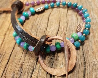 Leather bracelet; Turquoise bracelet; Unisex bracelet, Agate bracelet; Copper bracelet; Wrap bracelet; Boho bracelet; Bohemian bracelet