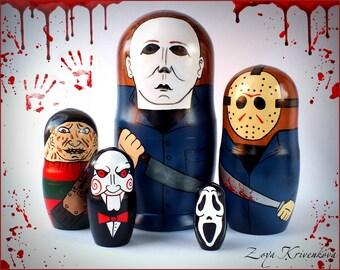 Nesting doll Horror Movie Villains Geek Gift Matryoshka 5pcs Michael Myers Freddy Krueger Jason Voorhees Scream Saw/Матрешка