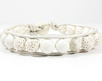 Whiter Shade of Lava~Handmade Wrap Bracelet~White Lava Stone Bracelet~Wrap Bracelet Leather~Howlite Bead Bracelet~Adjustable Bracelet