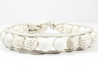 Whiter Shade of Lava~Handmade Wrap Bracelet~White Lava Stone~Howlite Beaded~White Leather~Mens Leather Bracelet~Mens Jewelry~Diffuser