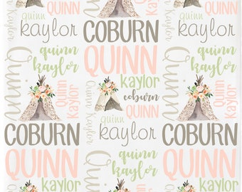 Personalized Baby Blanket, Baby Name Blanket,  Boho Baby Blanket/Teepee/Flowers, Birth Announcement Blanket, Personalized Swaddle Blanket