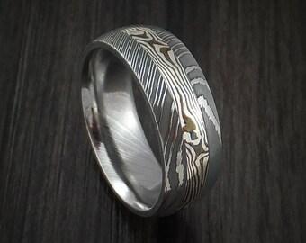 Damascus and sterling silver mokume gane ring custom made