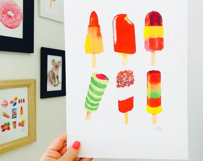 Iconic British Icy Lollies Print - A4 Size Designed and Printed in Australia.