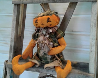 Primitive Pumpkin - Pumpkin Doll - Handmade Doll - Primitive Doll - Primitive Halloween Decor - Halloween Decor - Jack O Lantern Doll - Fall