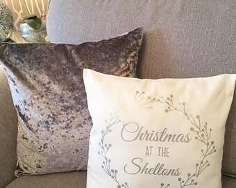 Personalised Christmas Family Cushion   Festive Wreath Metallic Cushion   Home  Decor   Cushions U0026 Pillow