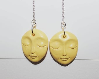 YELLOW MELLOW moon face | statement drop earrings | limited edition