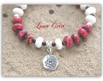 Bracelet gemstones beads, white Magnesite, Jasper Magenta gem pearl bracelet, silver plated Lotus Flower