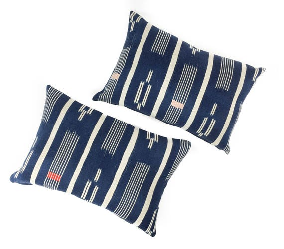 18 x 12 Indigo & Ivory Baule Ikat Pillow Cover with Embroidery