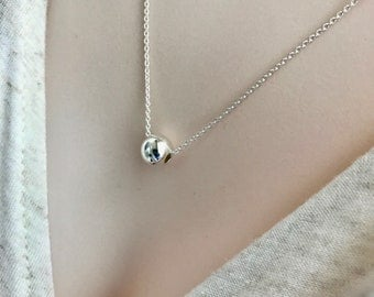 Single Bead Necklace, Sterling Silver Minimalist Jewelry, Silver Bead, Layered Necklace, Geometric Simple EverydayJewellery, Trending Now