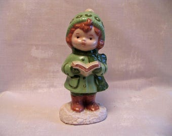 Ceramic Glazed Caroler - Hand Painted