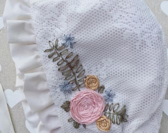 Embroidered  lace brimmed baby bonnet , cotton bonnet, reversible bonnet. baby bonnet. lace bonnet