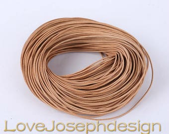 100meters 1.5mm or 2.0mm Natural Brown round genuine/real leather cords