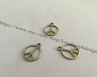 wholesale 100 Pieces /Lot Antique Bronze Plated 17mmx14mm peace charms (#0289)