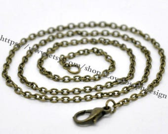 18-30inch adjustable---100pieces 3.5mmx2.5mm antique bronze 18-30inch adjustable flat cable necklace chains(#0459)