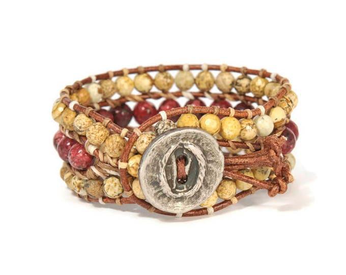Boho Areti * 3 strand Wrap Bracelet. Boho Style. Bohemian Jewelry. Semiprecious stones. Gift for her. Cuff Bracelet.