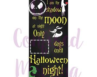 Halloween Countdown Svg-Nightmare Before Christmas-Halloween Sign Svg-Instant Download-Cricut-Jack Skellington-Sally-Oogie Boogie-Zero