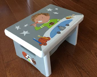 Wooden Step Stool Etsy