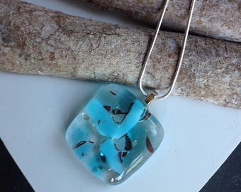 Turquoise glass necklace, fused glass pendant, turquoise blue, artisan jewelry, handmade jewelry, summer fashion, holiday wear, gift for her