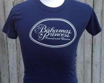 35% OFF SALE Vintage 80s Bahamas Princess Blue Hipster 1980s T shirt - vintage tees - vintage t shirt - travel t shirt - 80s tshirt (Small)